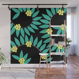 Spiral Ginger Leaves With African Iris Flowers Wall Mural