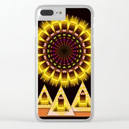 Geometric fantasy sun with tribal patterns Clear iPhone Case