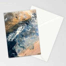 Wander [3]: a vibrant, colorful abstract in blues, pink, white, and gold Stationery Cards