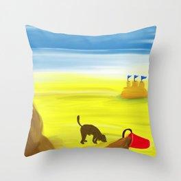 Treasure Hunt on the Beach Throw Pillow