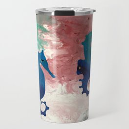 Colorful Sea Horses Abstract Acrylic Painting Travel Mug