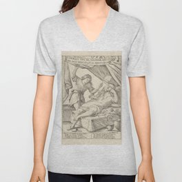 Vintage Print - Giuseppe Mitelli - The Honorable Life of the Lazy Man (1683) Unisex V-Neck