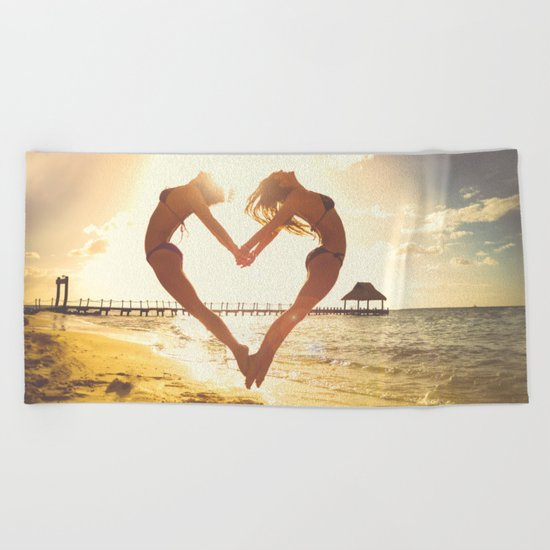 heart beach holiday 5 Beach Towel