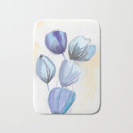 Blue bell flowers watercolor painting romantic something blue Bath Mat