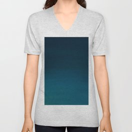 Navy blue teal hand painted watercolor paint ombre Unisex V-Neck