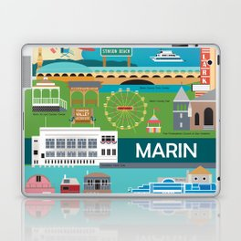 Marin County, California - Collage Illustration by Loose Petals Laptop & iPad Skin