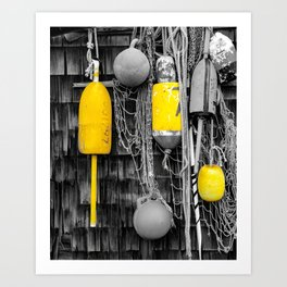 Rockport Massachusetts Lobster Buoys in Selective Color Art Print