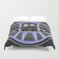 agents of shield Duvet Covers featuring Agents of TARDIS Doctor Who Agents of Shield Mash Up by Whimsy and Nonsense