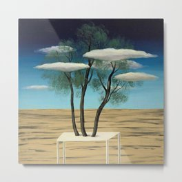 The Oasis, 1925 surreal oasis in the desert landscape painting by Rene Magritte Metal Print