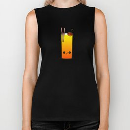 Cute booze-tropical cocktail with cherry Biker Tank