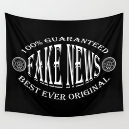 Fake News badge (white on black) Wall Tapestry