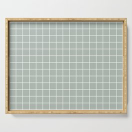Ash gray - grey color - White Lines Grid Pattern Serving Tray
