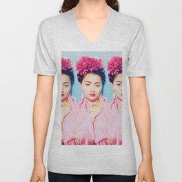 Tres Fridas in Pink Unisex V-Neck