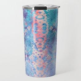 Snakeskin Animal Print - Abstract Design Aqua Blue & Lavender Purple Travel Mug
