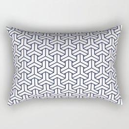 Japanese Yukata Jinbei Bishamon Navy reversed pattern Rectangular Pillow