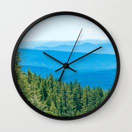 Artistic Brush // Grainy Scenic View of Rolling Hills Mountains Forest Landscape Photography Wall Clock