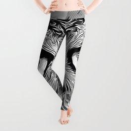 owl strix bird v2 vector art black white Leggings