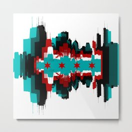 Chicago Flag Skyline Metal Print