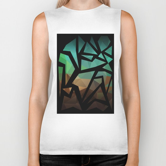 Abstract background of triangles polygon print. Bright dark design colors Biker Tank