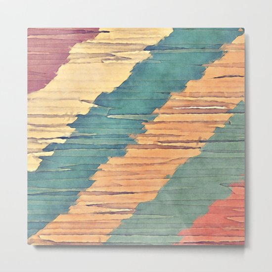 Abstract Shredded Stripes Metal Print