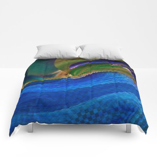 Wild Alaskan Sea Abstract Comforters