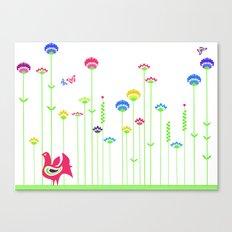 Cute retro hen  Canvas Print