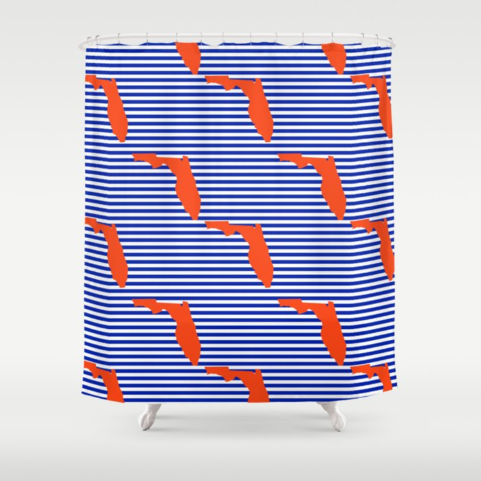 Florida University Gators Orange And Blue College Sports Football Stripes Pattern Shower Curtain