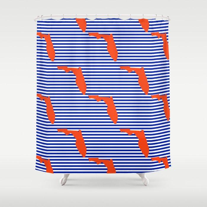 Florida University Gators Orange And Blue College Sports Football Stripes Pattern Shower Curtain By Varsity
