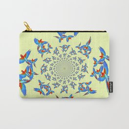 MODERN ART FLOCK OF  BLUE MACAW PARROTS Carry-All Pouch