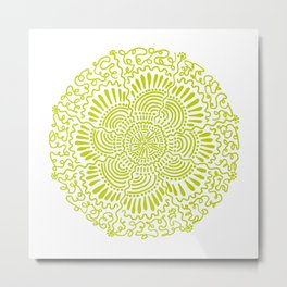 Green Wavy Circle Metal Print