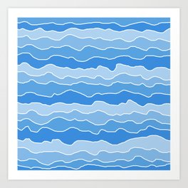 Four Shades of Light Blue with White Squiggly Lines Art Print