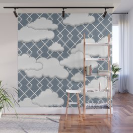 Slate Gray Cute Adorable Clouds Pattern Wall Mural