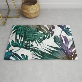 Tropical Palm Leaves on Marble Rug