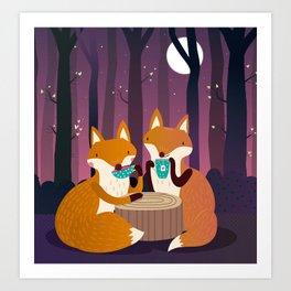 Tea time in the woods Art Print