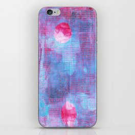 Crimson Clover, Abstract Monoprint Painting iPhone Skin