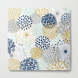 Abstract Floral - Navy, Grey, Gold Metal Print