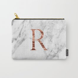 Monogram rose gold marble R Carry-All Pouch