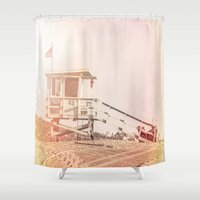 """bruno mars Shower Curtains featuring Bruno Mars """"Billionaire"""" Video Lifeguard Tower by SoCal Chic Photography"""