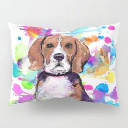 Cute watercolor beagle with paint splatters Pillow Sham