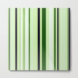 Black Light Blue and Shades of Green Stripes Metal Print
