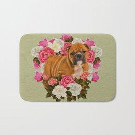 English Bulldog Puppy with flowers Bath Mat