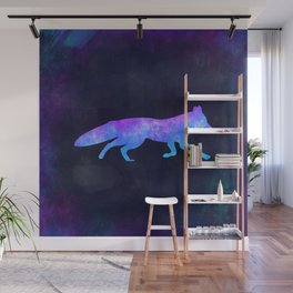 FOX IN SPACE // Animal Graphic Art // Watercolor Canvas Painting // Modern Minimal Cute Wall Mural