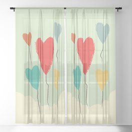 Heart Balloons above the Clouds Sheer Curtain