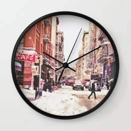 New York City Snow Soho Wall Clock