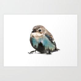 Bird Double Exposure Art Print