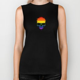 Gay Pride Rainbow Flag on a Chaotic Splatter Skull Biker Tank
