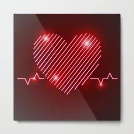 Neon Red EKG Heart Metal Print