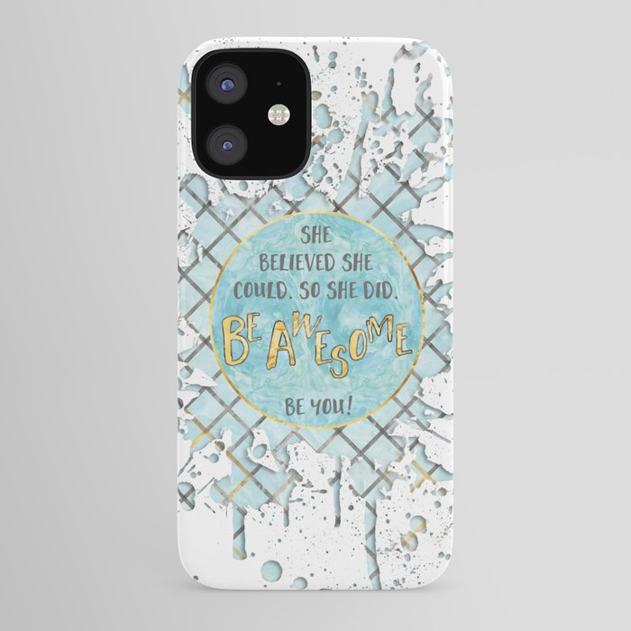 Text Art SHE BELIEVED | cyan/white splashes iPhone Case