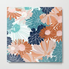 Floral Prints, Teal, Navy Blue, Terracotta, Pink, Artists Designs Metal Print