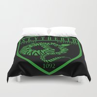 slytherin Duvet Covers featuring Slytherin Crest by machmigo